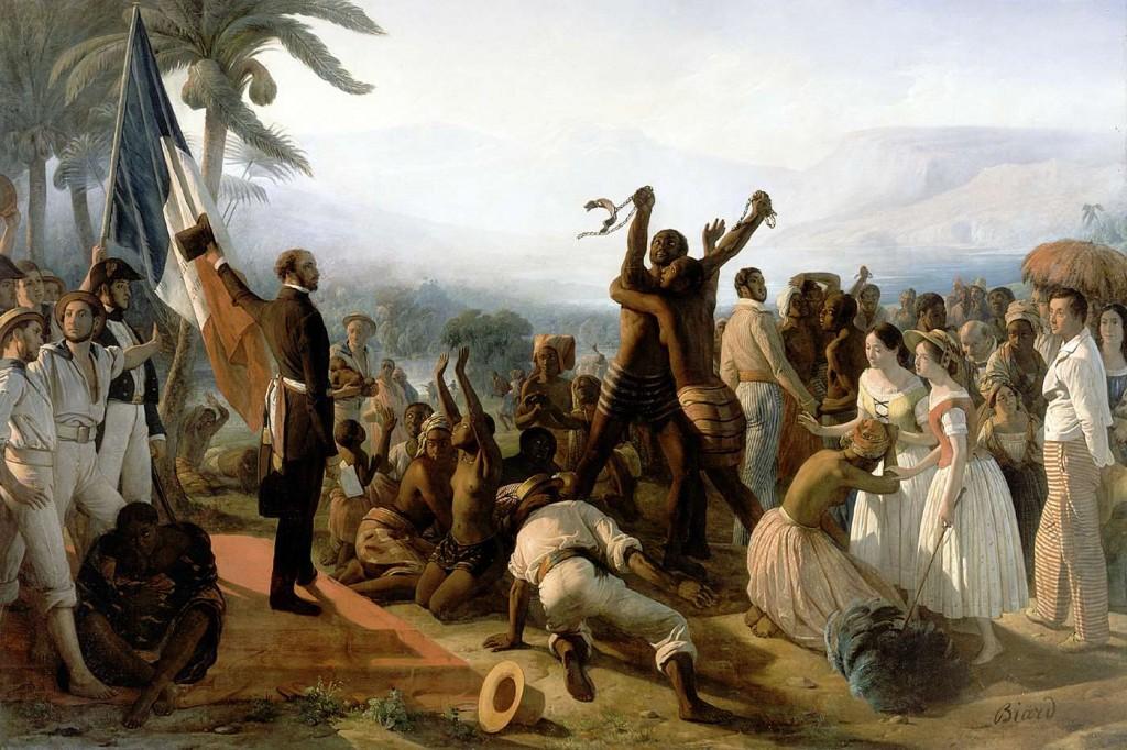 La abolición de la esclavitud en las colonias francesas en 1848, François-Auguste Biard, Palacio de Versalles, París, Francia