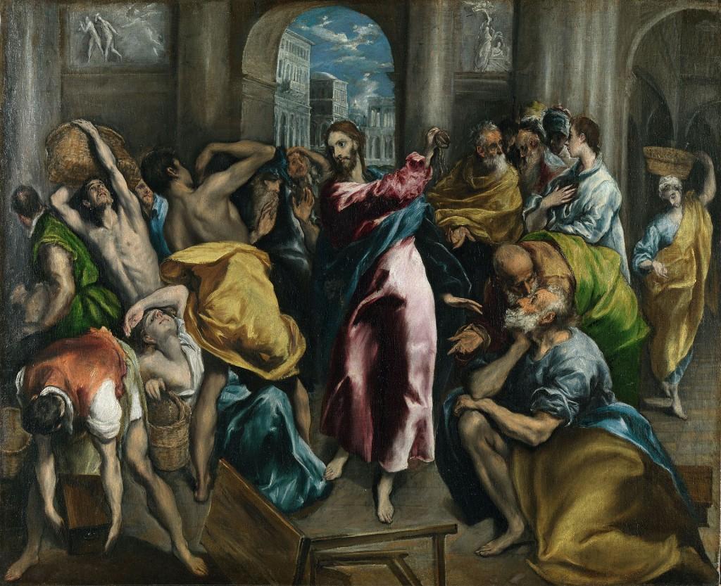 """""""La expulsión de los mercaderes""""  El Greco (1600) http://es.wikipedia.org/wiki/La_expulsi%C3%B3n_de_los_mercaderes_%28El_Greco,_Londres%29"""