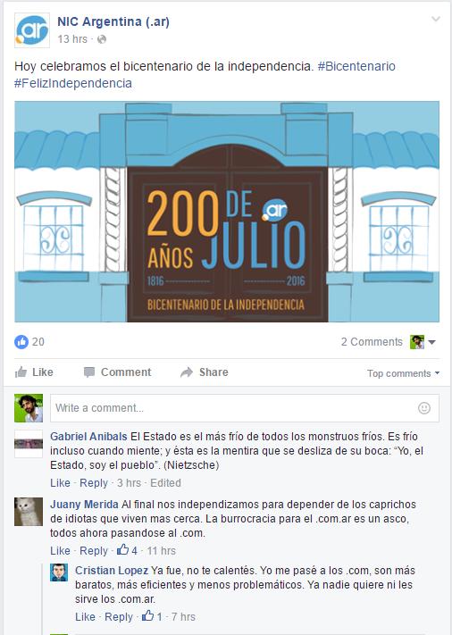 quejas bicentenario nic argentina